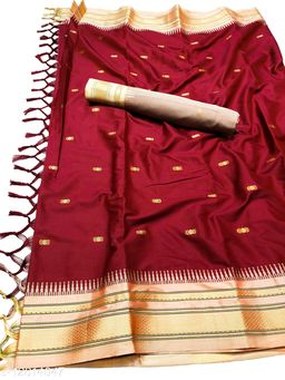 Hirkal Traditional Paithani Silk Sarees With Contrast Blouse Piece (H8_Wine Red & Cream)