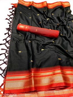Hirkal Traditional Paithani Silk Sarees With Contrast Blouse Piece (H7_Black & Red)