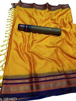 Hirkal Traditional Paithani Silk Sarees With Contrast Blouse Piece (H6_Yellow & Navy)