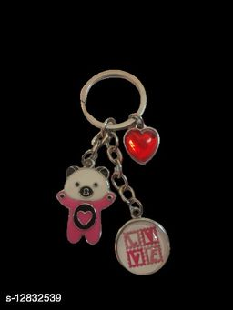 Heart And Teddy Key Chain Red MultiPurpose keychain for car,bike,cycle and home keys