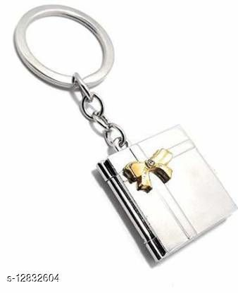Book-Shape Double Photo Frame Metal Keychain -Friendship Day, Valentine Day Birthday Gift (Colour Silver) Key Chain