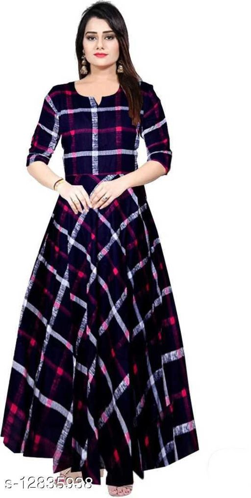 Women's Casual Cotton-Rayon Printed Long Flared A-Line Maxi Gown Dress Kurti