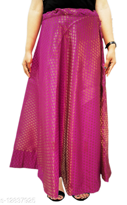 Designer A line flare Chanderi Silk long Skirt for women/girls (Waist size upto- 38 Inches) X length- 39 to 40 Inches