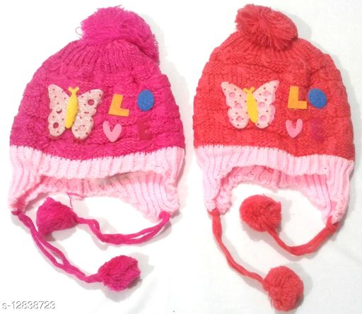 Baby Woolen Multicolor Cap (0-12 Month - Pack of 2) Design May Vary
