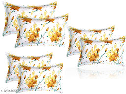 BSB HOME 3D Printed 6 Piece Cotton Pillow Covers Only (20X30 Inches, White and Yellow)