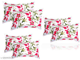 BSB HOME 3D Printed 6 Piece Cotton Pillow Covers Only (20X30 Inches, White and Red)