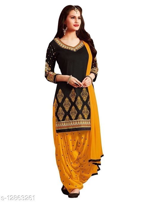 Women Unstitched french crepe Leone dress material