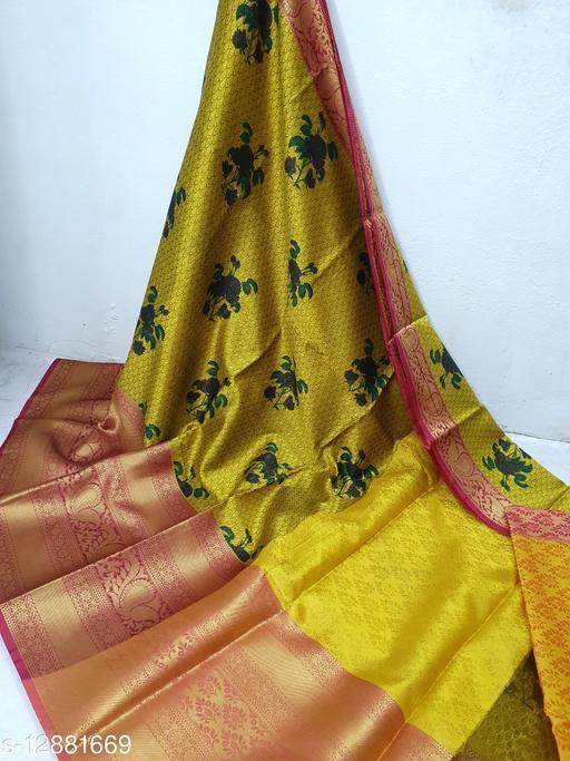 Banarasi Muslin Print Big Border Fancy Saree With Blouse