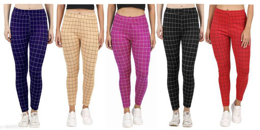 Women's Checkered Jegging Lint-Free Stretchable Fabric (combo of 5, Free size)