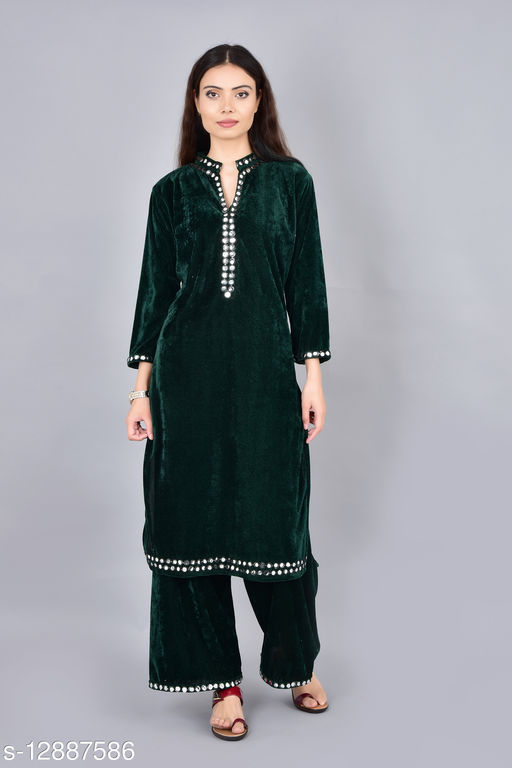 Women Velvet A-line Embroidered Short Kurti With Palazzos