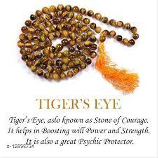 J & J GEMS Tiger's Eye Stone Mala (8 mm Beads 108+1) Reiki Healing and Yoga Meditation Buddha Reiki Healing Beads Unisex Mala