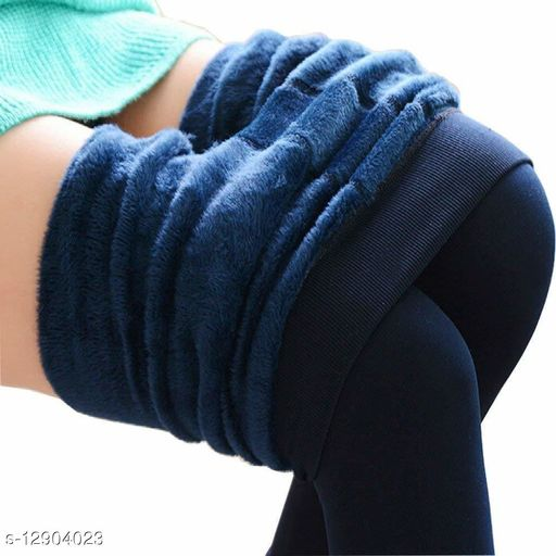Ladies Extreme Winter Faux Fur Lined Thermal Warm Women Woolen Leggings Colour: Navy Blue Free Size (28 to 38) Penance for you 2 Pcs Combo