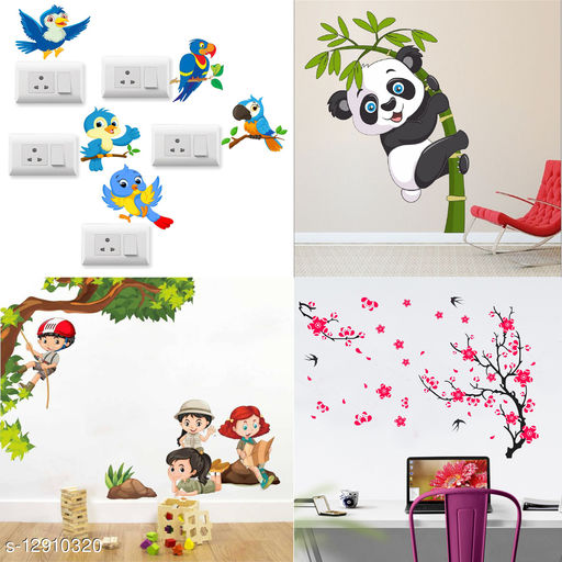 Walltech Combo of 4 Wall Sticker SB Twitter Bird-(14 X15 Cms) | Baby Panda-(120 X 95 Cms) | Kids Activity-(100 X85 Cms) | Different Tree With Flower-(92 X 132 Cms)  - Matrial Vinyl