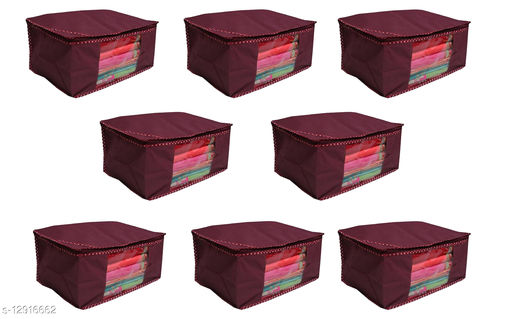 Mehroom Solid  Front Transparent Non-Woven Saree Cover Pack of 8