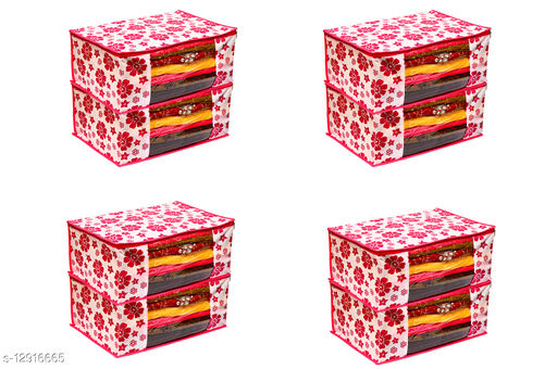Pink Floral Printed Front Transparent Non-Woven Saree Cover Pack of 8