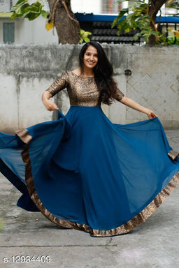 Exclusive Trendy Look Jacquard fabric Floor touch Designer Gown