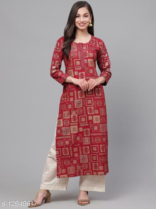 Indo Era Red Foil Geometric Printed Straight Kurtas
