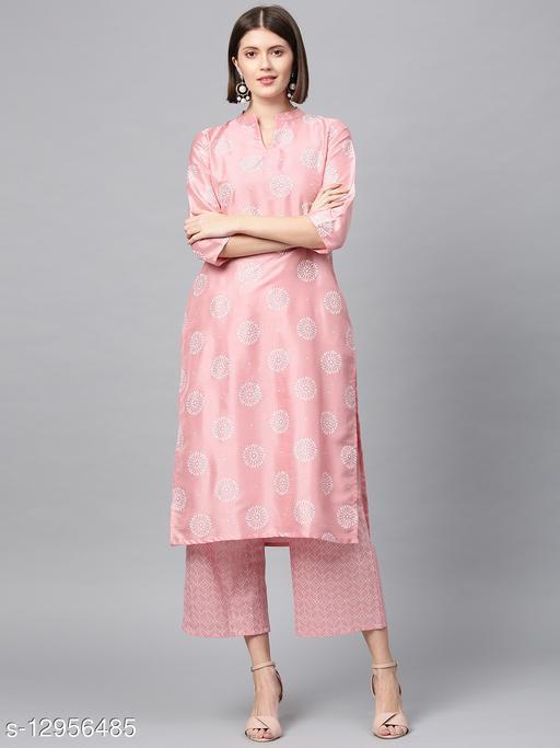 Ziyaa Women's Pink Khadi Print Straight Polysilk Kurta