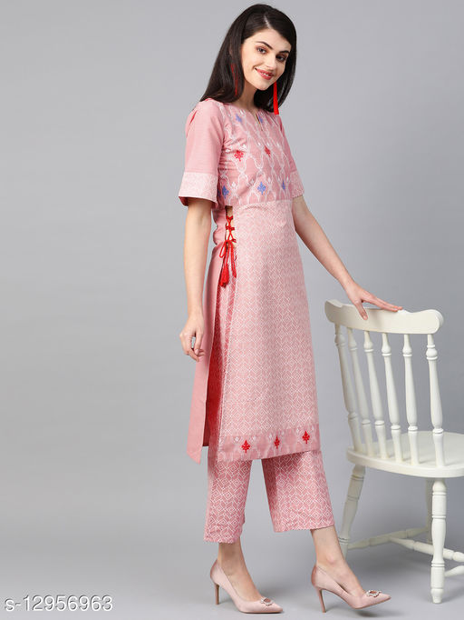 Ziyaa Women's Pink Colour Khadi Print Straight Polysilk Kurta