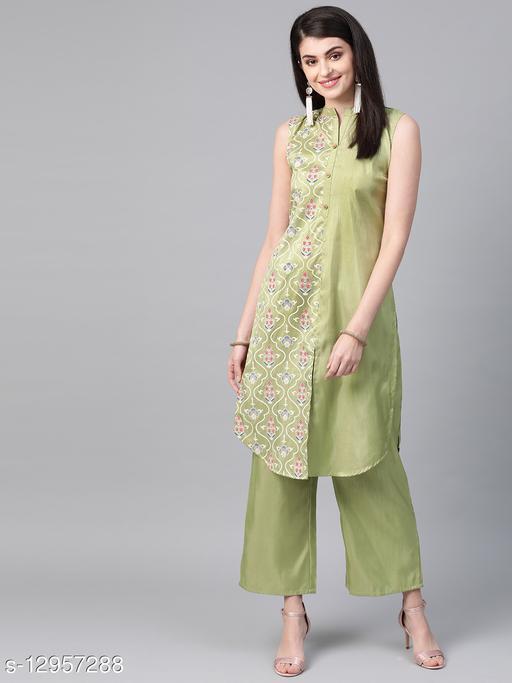 Ziyaa Women's Green Colour Khadi Print Straight Polysilk Kurta