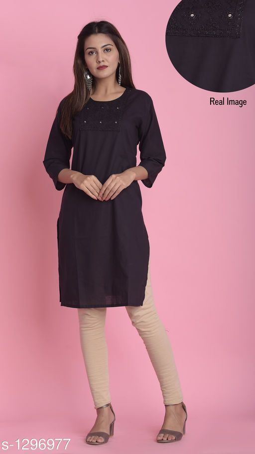 Women's Solid Black Cotton Kurti