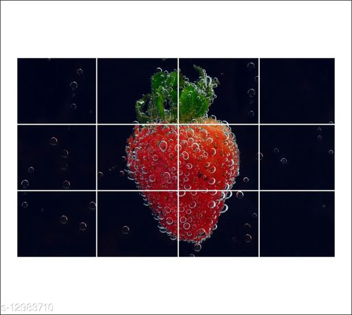 Sky Decal abstract falling strawberry kitchen wall sticker  ( pvc vinyl covering area 50CM x 80CM )