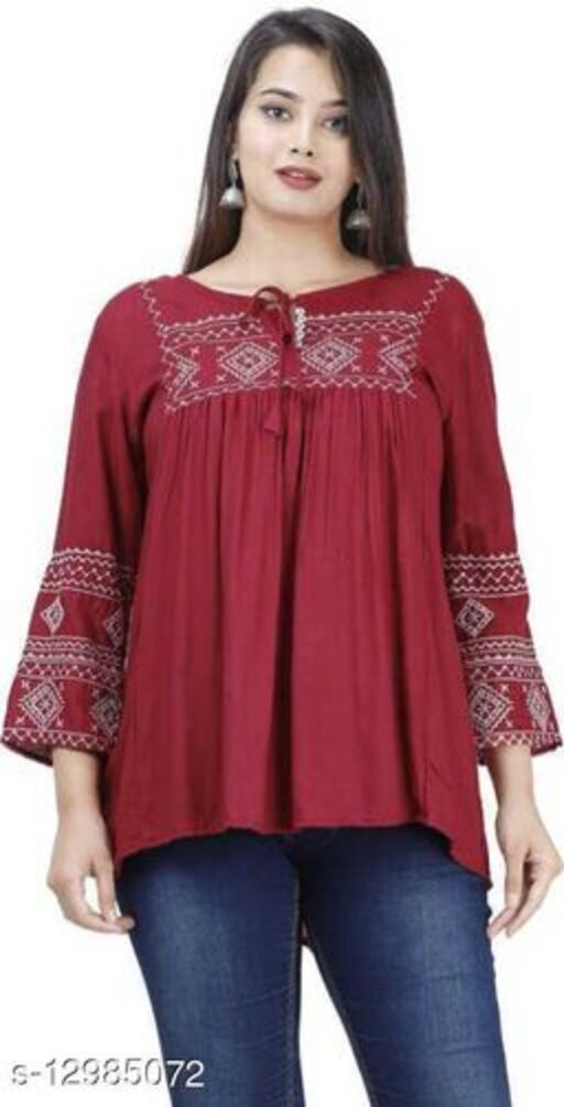 Stylish Casual and Party Wear Regular Sleeves Embroidered Work Women's Cotton Ethnic Top and Tunics