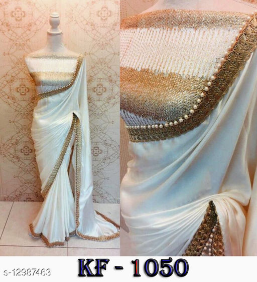 WHITE SAREE WITH FANCY BORDER