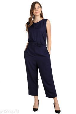SMARTGLAM Navy Blue Color Rayon Fabric Regular Wear Jump Suit