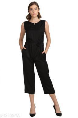 SMARTGLAM Black Color Rayon Fabric Regular Wear Jump Suit