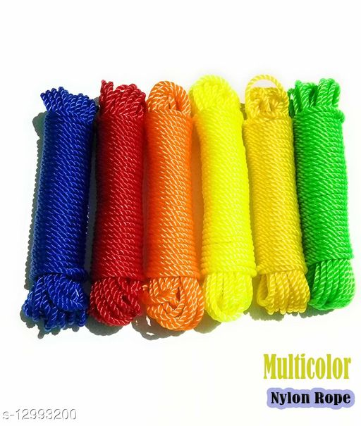 NYLON Rope or Multicolor Cloth Hanging Rope For Both Indoor And Outdoor Purpose Thin (6 pieces) 60 meters