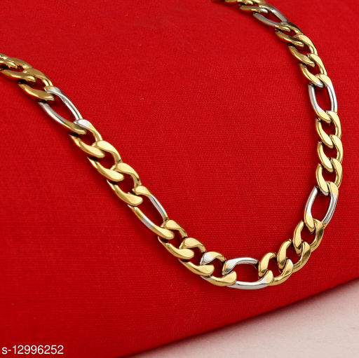 Thrillz Trendy And Stylish Two Tone Sachin Inspired Designer Double Coated Chain For Men & Boys