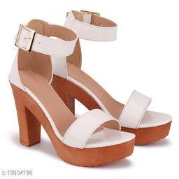 Attractive Women's Suede White Heels