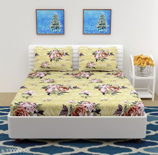 Microfiber Double Bedsheet with 2 Pillow Covers