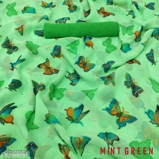 Sonika Beautiful Butterfly Print Pure Georgette Sarees