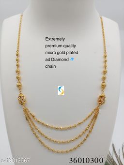 NEW DESIGN MICRO GOLD PLATED 3 LAYER CHAIN