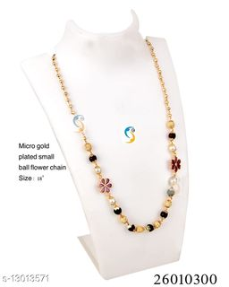 MICRO GOLD PLATED FLOWER AD DIAMOND CHAIN
