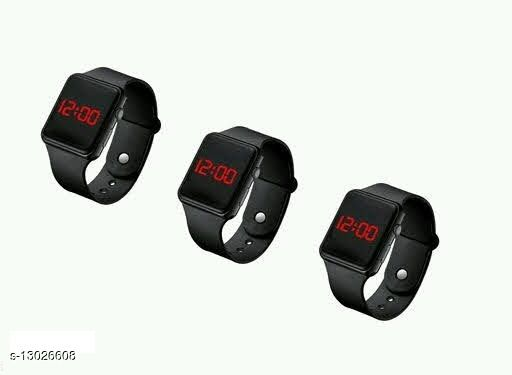 latest trendy combo-3 black squre cut watch for age group 7 to 21 years children-kids