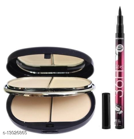 TYA 5 in 1 Two Way Face Compact Powder With Yanqina Waterproof Pen 36H Eyeliner