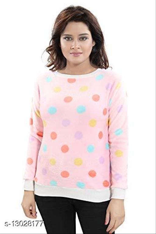Women's Printed Cotton Full Sleeves Sweat-shirt (Circle_Pink)