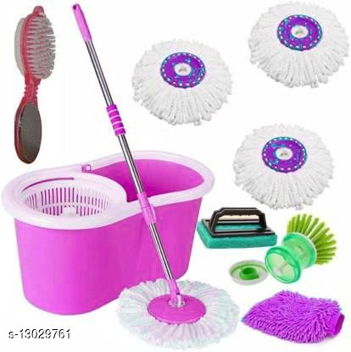 Plastic Bucket Mop set 360 Degree Rotating with 3 Absorber,1 Sink brush ,1 tile Brush,1 Pedicure Brush ,1 microfiber glovewet & Dry Mop set(Multicolour)