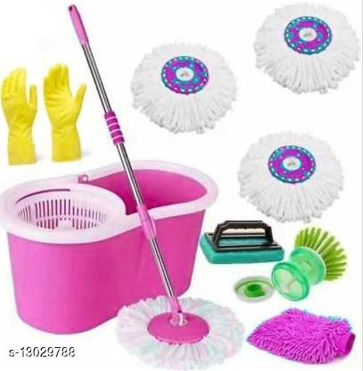 Plastic Bucket Mop set 360 Degree Rotating with 3 Absorber,1 Sink brush ,1 tile Brush,1 Rubber glove ,1 microfiber glovewet & Dry Mop set(Multicolour)