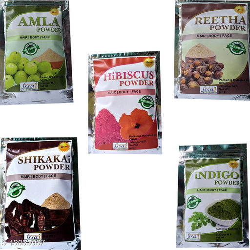 OEHB New 5 IN 1 Amla,Hibiscus,Shikakai,Reetha and Indigo Powder (Each - 50gm)