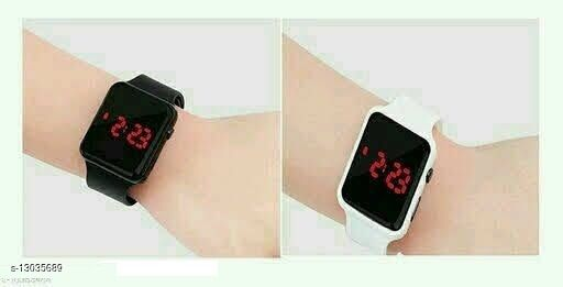 new arrival combo-2 black & white squre cut watch for age group 7 to 21 years children-kids
