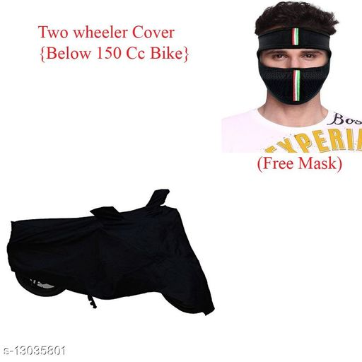 Appliance Covers Black Bike Cover Combo With Free Mask Product Name: Black Bike Cover Combo With Free Mask  Material: Polyester Mask Material: Cotton Type: Bike Cover Modal: Passion Pro TR Multi Pack: Pack Of 1  Size: Free Size Mask size - Free Size Description: It Has 1 Piece Of Free Face Mask Country of Origin: India Sizes Available: Free Size *Proof of Safe Delivery! Click to know on Safety Standards of Delivery Partners- https://ltl.sh/y_nZrAV3   Catalog Name: Black Bike Cover Combo With Free Mask  CatalogID_2540056 C131-SC1624 Code: 082-13035801-