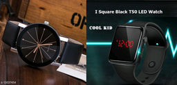 Trendy New design LeatherStrap Analoge watch for Men And Digital  Watch For men  absoulty Free