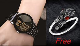 Trendy New designStainless Stee Strap Analoge watch for Men And Shiv design trishul Boy kada(Bracelet) absoulty Free