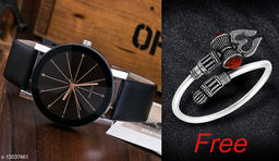 Trendy New design Leather Strap Analoge watch for Men And Shiv design trishul Boy kada(Bracelet) absoulty Free