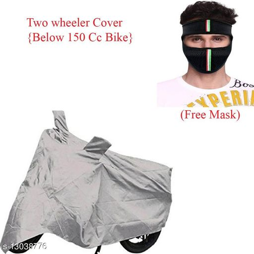 Car Accessories Silver Bike Cover Combo With Free Mask For Phoenix  Product name: Silver Bike Cover Combo With Free Mask For Phoenix Material: Polyster Add on : Mask  Multipack :1 Size: Free size Description: Mask Fabric - Cotton  Mask size - Free Size  Cover Size - Free Size Country of Origin: India Sizes Available: Free Size *Proof of Safe Delivery! Click to know on Safety Standards of Delivery Partners- https://ltl.sh/y_nZrAV3   Catalog Name: Bike Matty Bike Cover  CatalogID_2540776 C107-SC1414 Code: 792-13038776-