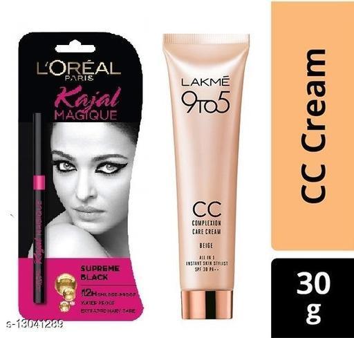 Lakme 9 To 5 Comlpexion CC Cream 30gm With Loreal Kajal Magique Supreme Black